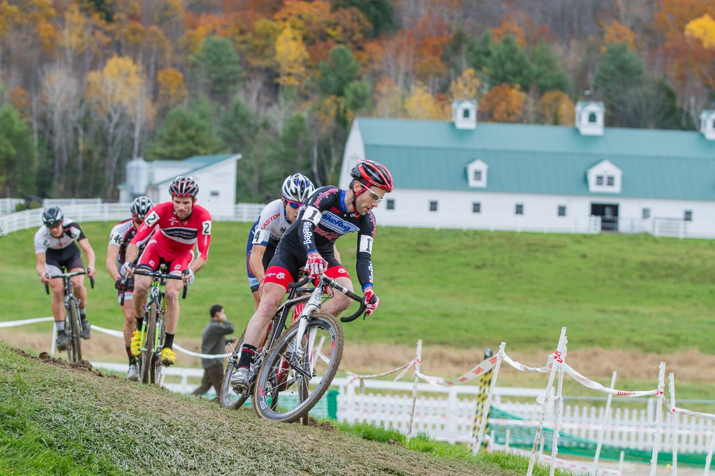 The lead group early in the race: Lindine, Durrin, McNicholas the first three wheels leading the charge © Todd Prekaski