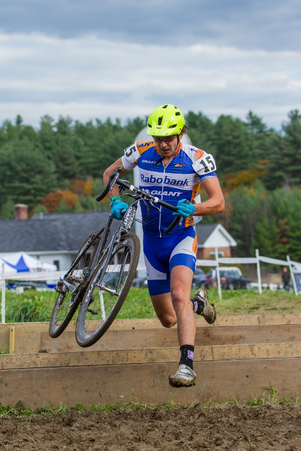 Mainer and Professional mountain biker Adam Craig took the lead from the group, flying through the corners and challenging mud sections © Todd Prekaski