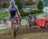 Frances Morrison takes the lead of the Elite Women's race as Crystal Anthony stumbles © Todd Prekaski