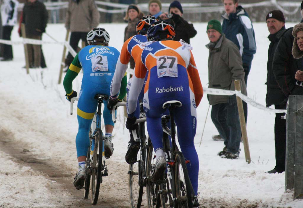 Thijs Al attacked the Rabobank pair on the final lap. ? Bart Hazen