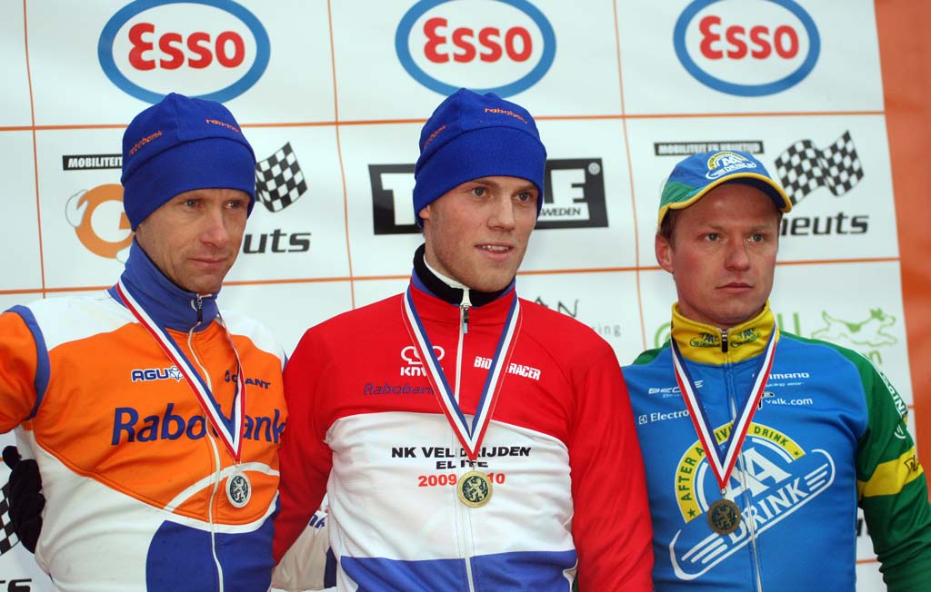 The elite podium at the Dutch Championships. ? Bart Hazen