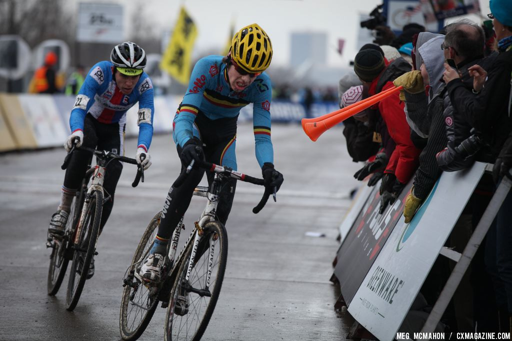 Toupalik chases in the Elite Junior World Championships of Cyclocross 2013 © Meg McMahon