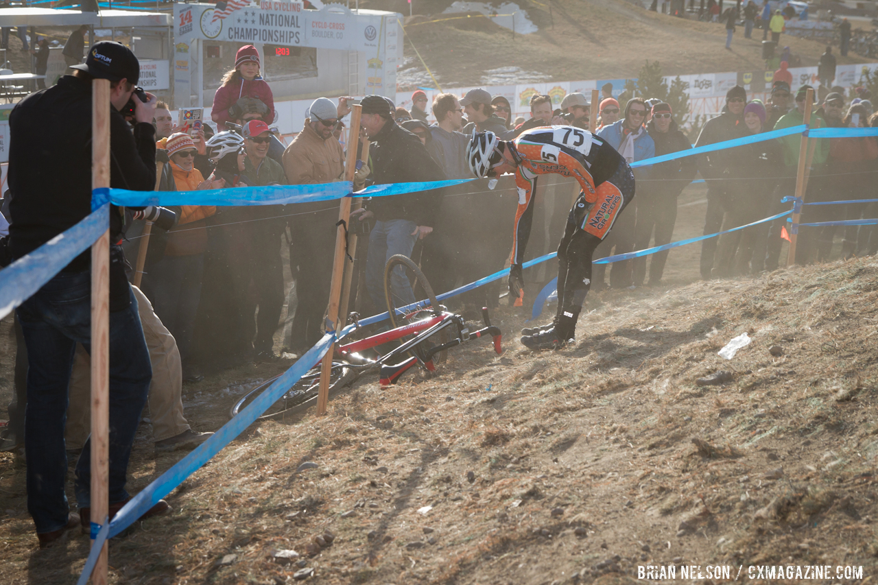 Brad Neagos\' (Natural Grocres Cycling Team) hopes were dashed by a first lap crash.  © Brian Nelson
