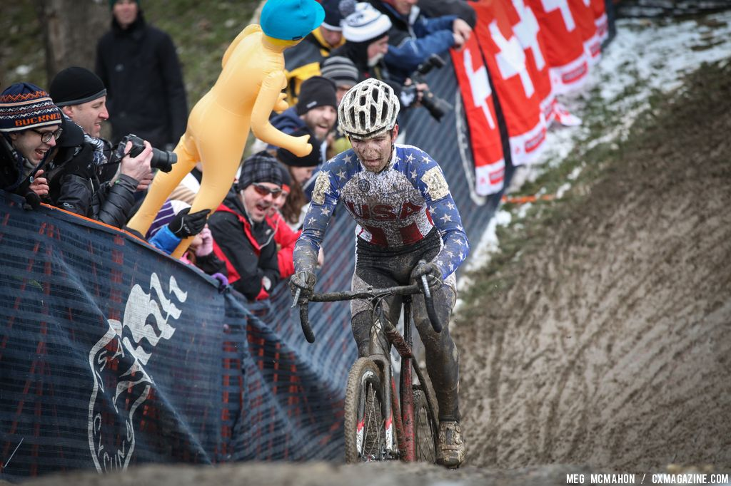 American rider hits the hill in the Elite U23 World Championships of Cyclocross 2013 © Meg McMahon
