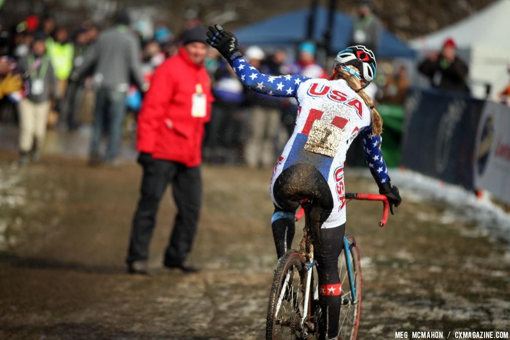Compton waves at the crowd as she comes in for second in the Elite Women World Championships of Cyclocross 2013 © Meg McMahon