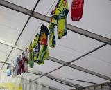 A line of Erwin Vervecken's jerseys hung across the party tent. ? Jonas Bruffaerts
