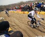 Neils Albert and Zdenek Stybar chasing Sven Nys through the sand