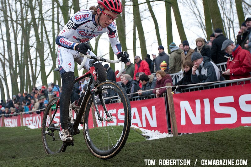 Cody Kaiser shows off his bike handling skills on the bumps of Azencross. © Tom Robertson