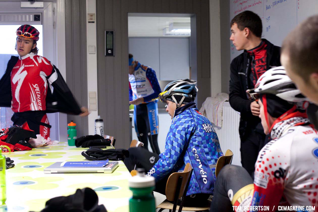 Riders suiting up in the USA House for the training race. © Tom Robertson