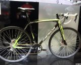 Merida showcased their Cyclocross Carbon Team – D bike. Featuring SRAM/Avid disc brakes, the all-carbon rig utilizes internal cable routing and sports a 7.7 kilogram weight. © Jeff Lockwood