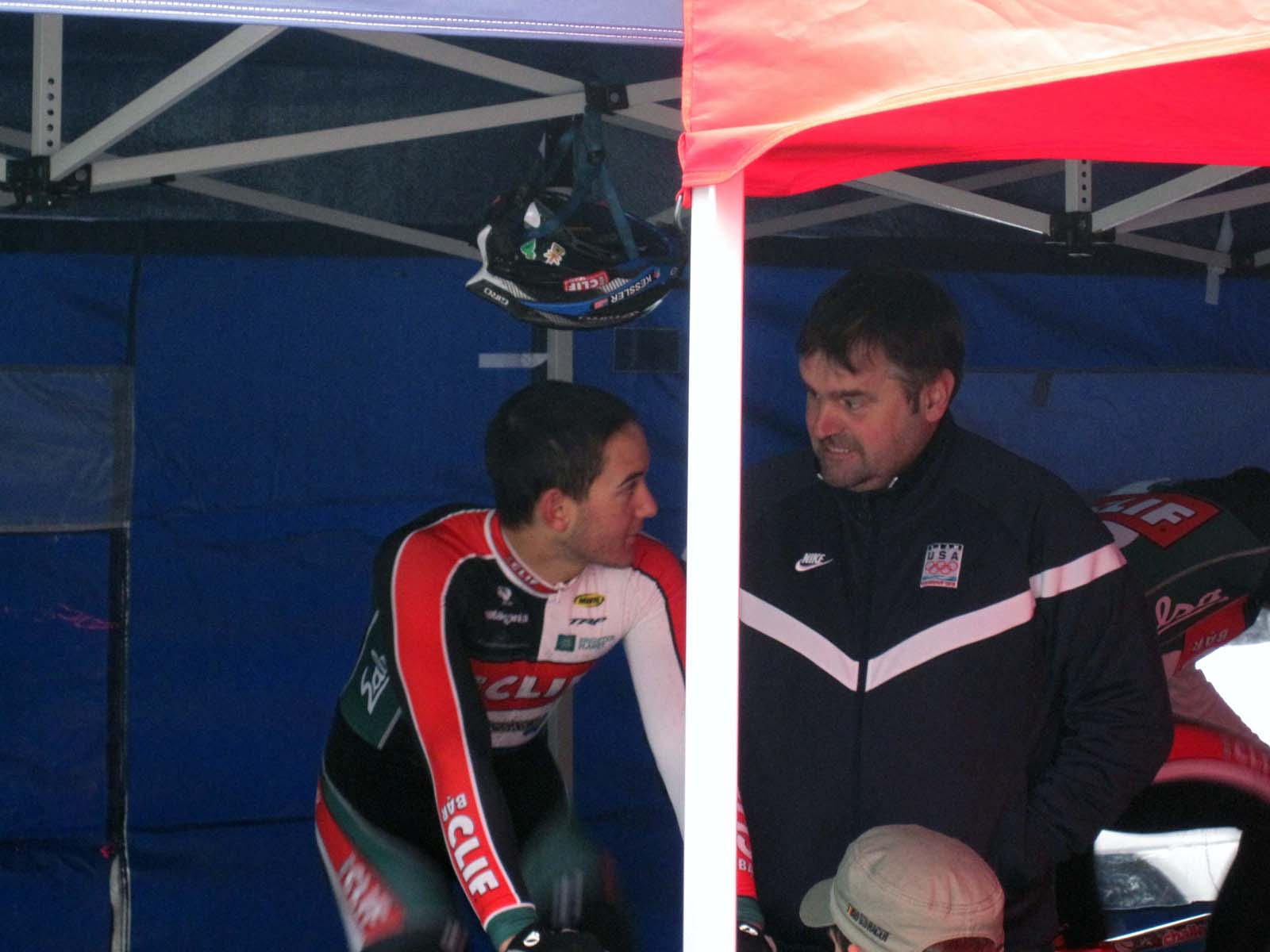 Chris Fox, an affable soigneur, keeps the riders in good spirits. ? Nathan Phillips
