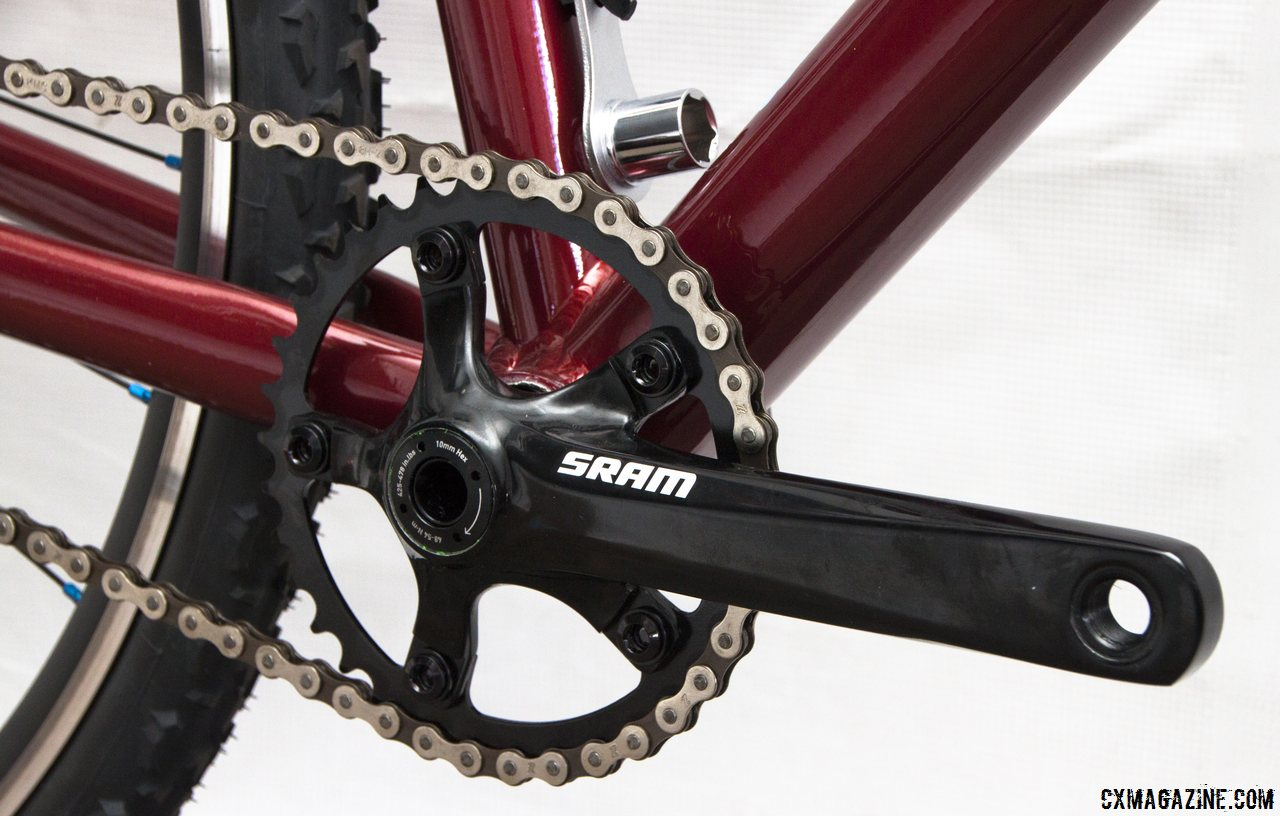 A SRAM S350 alloy crankset with a 36t ring powers the Felt 2014 Breed Singlespeed Cyclocross Bike. © Cyclocross Magazine