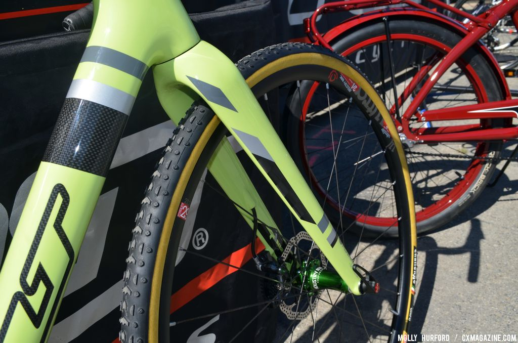 Challenge Grifos and a TeXtreme fork on the Felt F2x at Sea Otter 2014. © Cyclocross Magazine