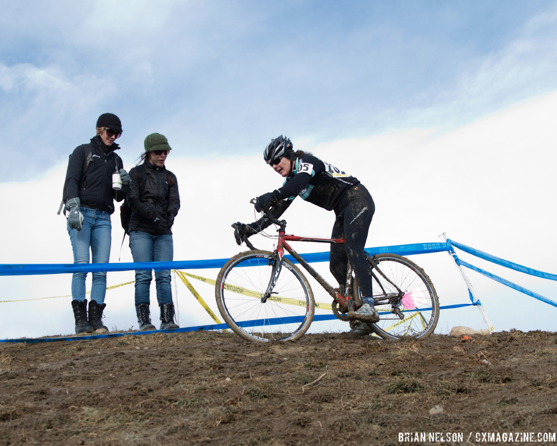 Cyndi Klyn (Boulder Cycle Sport) negotiating the infamous off camber.  ©Brian Nelson