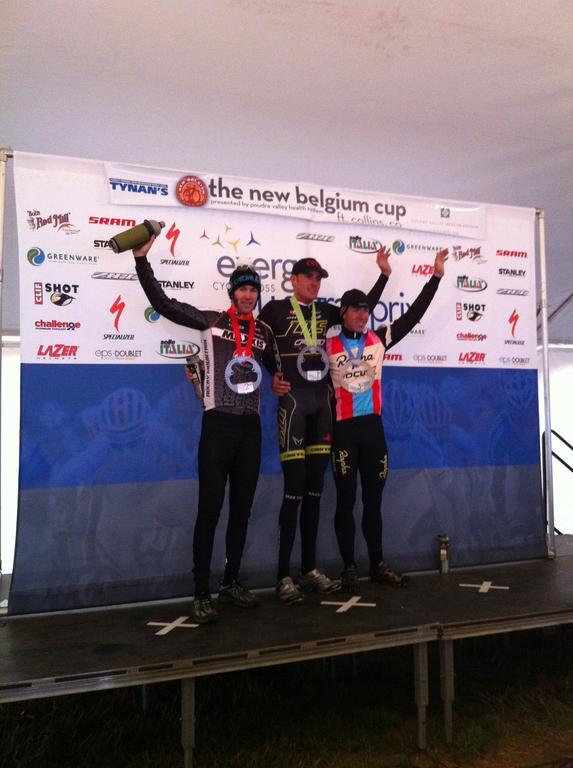 The men\'s podium of Trebon, Kabush and Powers. © Grant Berry