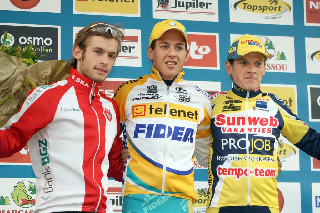Szcepaniak (l), Meeusen and Van Compernolle on the podium. ? Bart Hazen