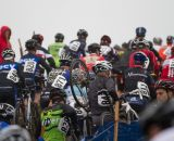 The sold-out amateur men's race on a run up © Todd Prekaski