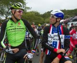 Trebon and Powers joke on the start grid © Todd Prekaski