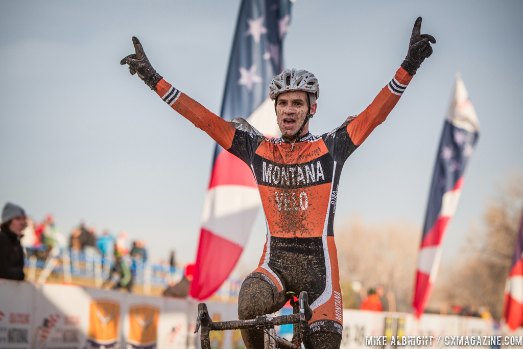 Gonzalez takes the win in the men\'s 50-54 race at 2014 USA Cyclocross National Championships. © Mike Albright