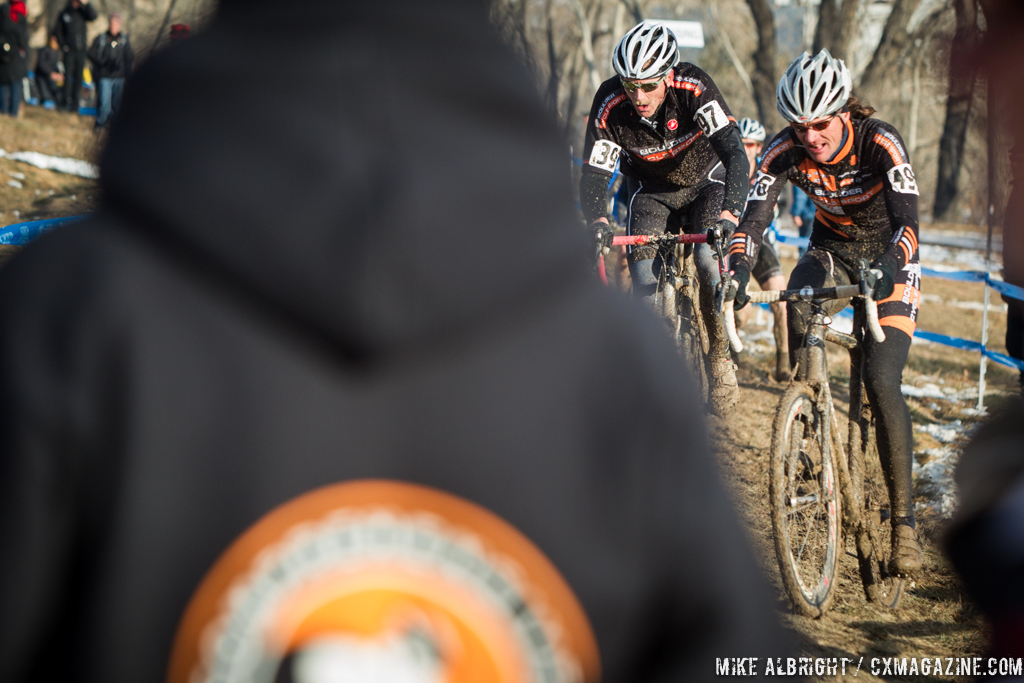 Fighting for position in the men\'s 50-54 race at 2014 USA Cyclocross National Championships. © Mike Albright