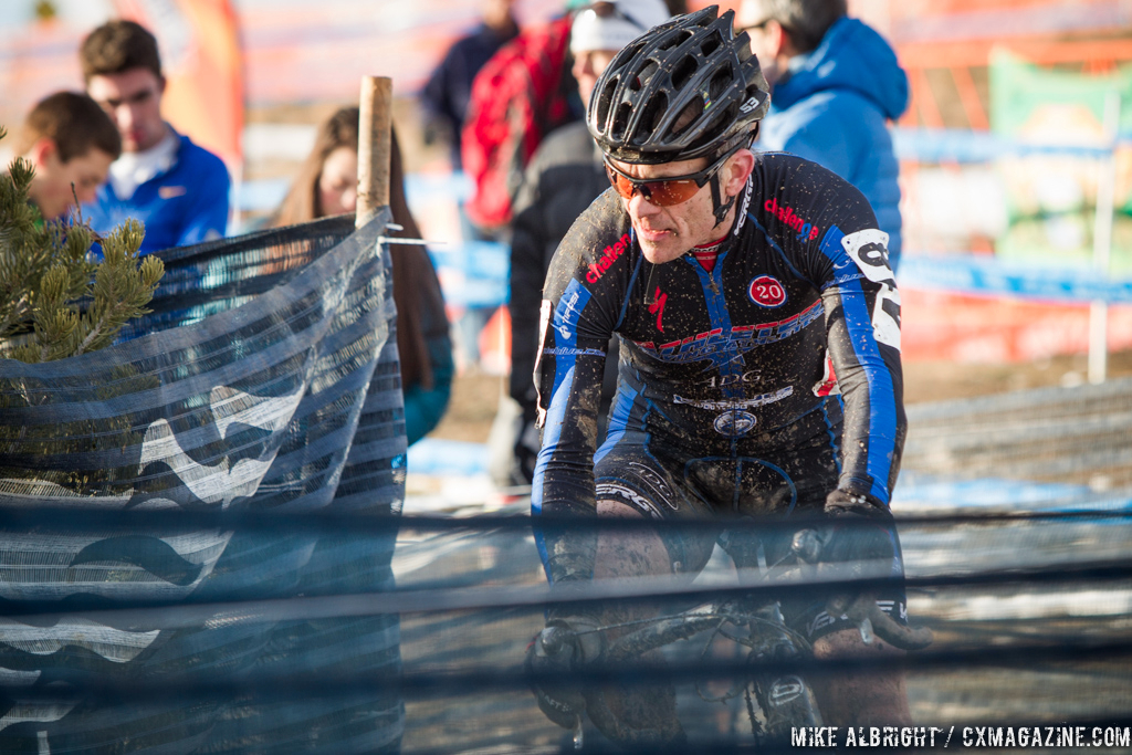 Game face on in the men\'s 50-54 race at 2014 USA Cyclocross National Championships. © Mike Albright