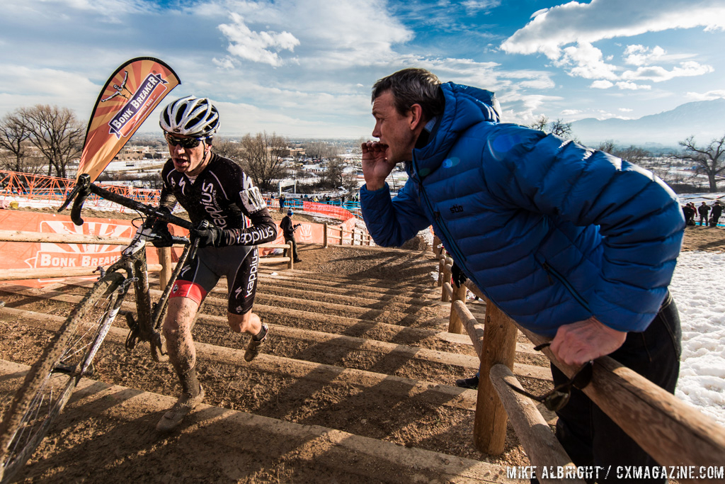 Long stairs in the men\'s 50-54 race at 2014 USA Cyclocross National Championships. © Mike Albright