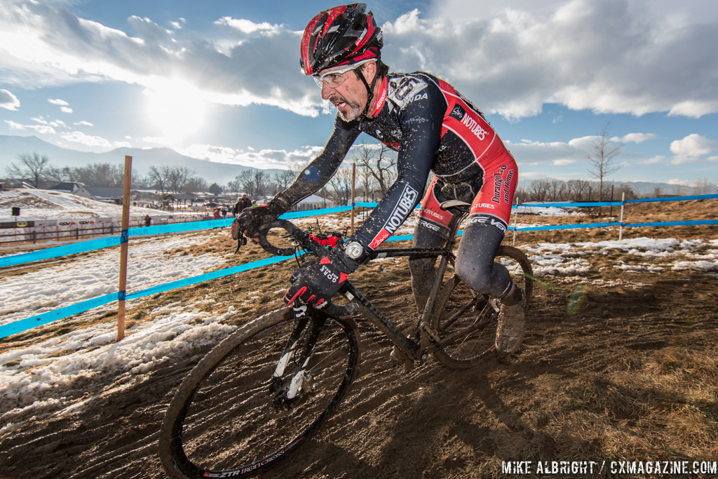 Sun starting to set in the men\'s 50-54 race at 2014 USA Cyclocross National Championships. © Mike Albright