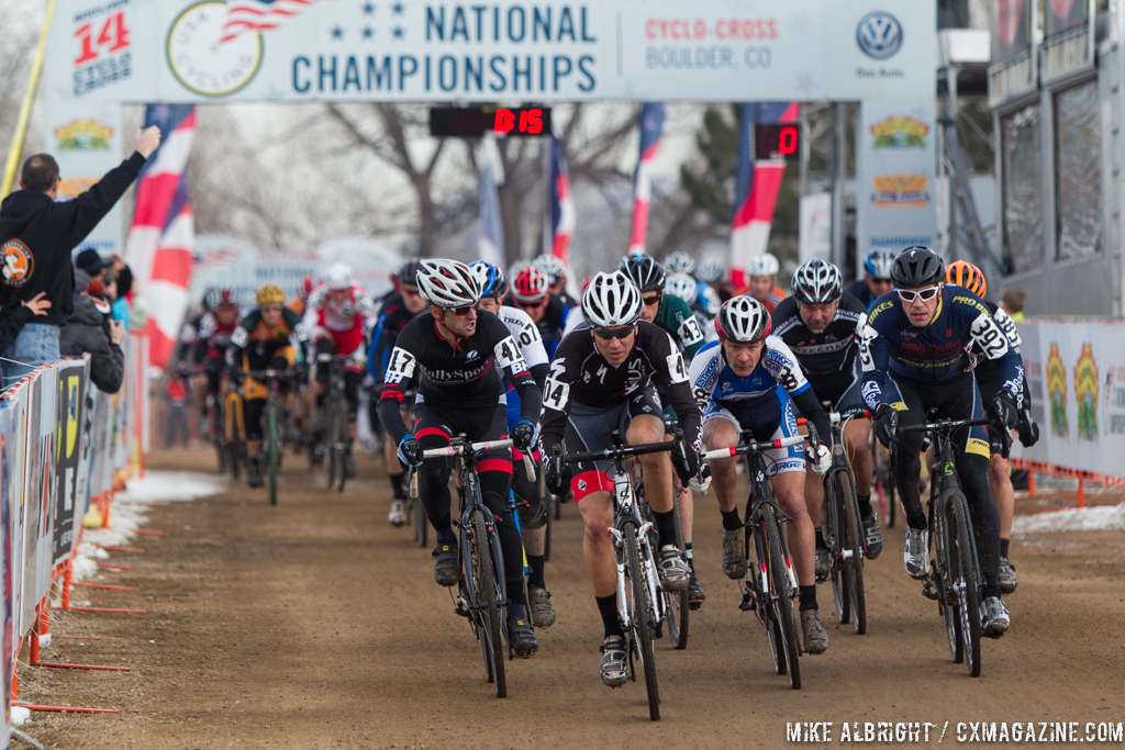The start in the men\'s 50-54 race at 2014 USA Cyclocross National Championships. © Mike Albright-54-7