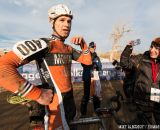 Interviewing Gonzalez in the men's 50-54 race at 2014 USA Cyclocross National Championships. © Mike Albright
