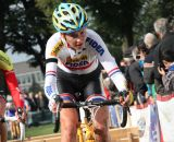 Vos got an early lead at Cyclo-cross Grote Prijs van Brabant. © Bart Hazen