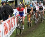 The lead group single files at Cyclo-cross Grote Prijs van Brabant. © Bart Hazen