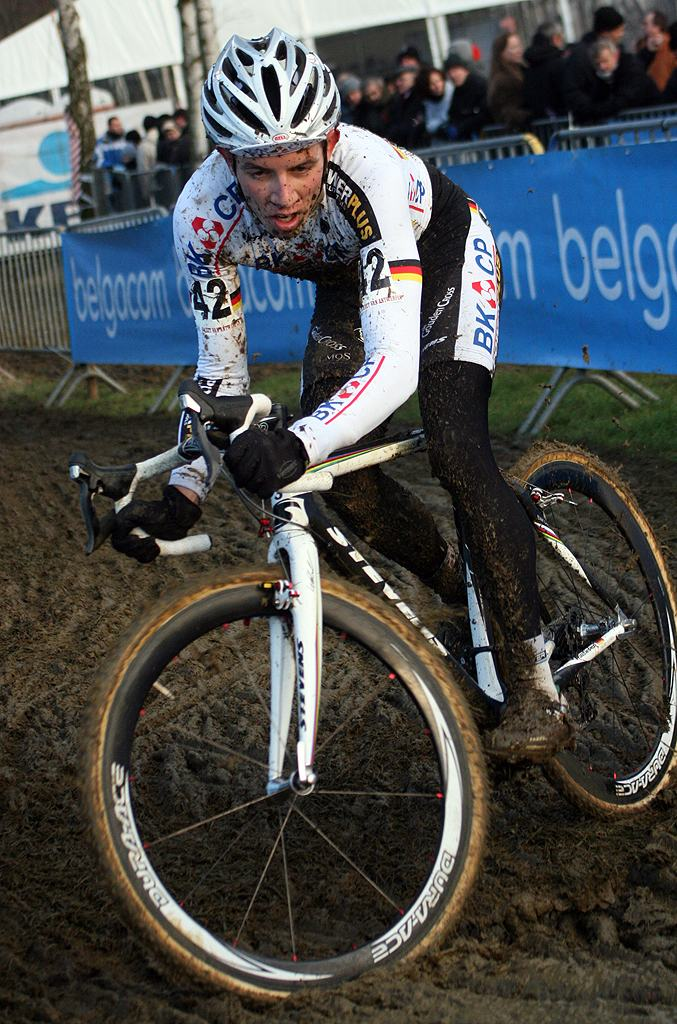 Phillip Walsleben drifts through the mud. GP Sven Nys 2010 - Baal, Beglium. GVA Trofee Series. ? Bart Hazen