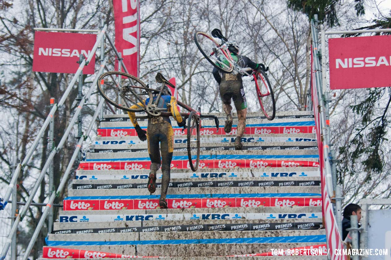 Nothing like running metal stairs in mud-covered cycling shoes © Tom Robertson