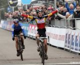 Sanne Cant takes the sprint finish over Helen Wyman at the 2013 GP Hasselt. © Bart Hazen / Cyclocross Magazine
