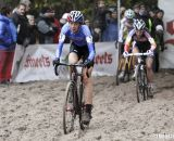 Helen Wyman leading through the sand pit. © Bart Hazen / Cyclocross Magazine