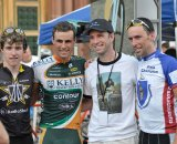 Mannion, Anthony, race promoter Paul Boudreau and race winner Tim Johnson © Michael Zagachin, redberryphoto.com
