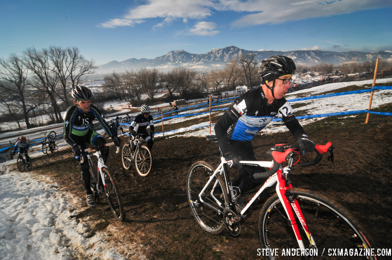 Gregg taking the lead in the Men\'s 60-64, 65-69, 70+ Nationals races in Boulder, Colorado. © Steve Anderson