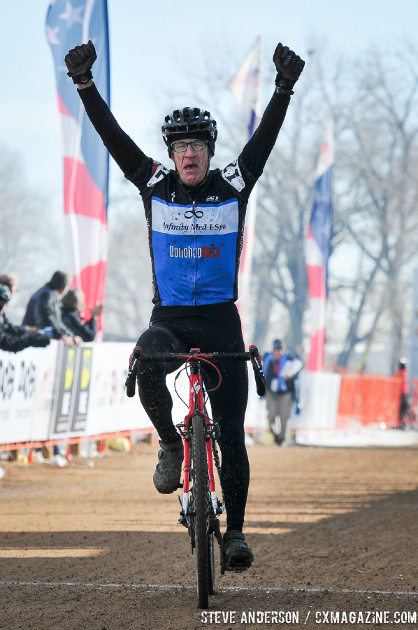 Gregg taking the win in the Men\'s 60-64, 65-69, 70+ Nationals races in Boulder, Colorado. © Steve Anderson