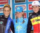 Podium of the race (from L. to R.): Pauline Ferrand Prevot, Daphny van den Brand and Sanne Cant. © Bart Hazen