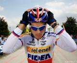 Zdenek Stybar waits for the start at the season's first World Cup in Treviso, Italy. (From UCI Cyclocross World Cup 2009/2010, ? Balint Hamvas)