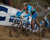 U23 Standout Tom Meeusen leads the way up the dunes in the Koksijde World Cup in Belgium. (From UCI Cyclocross World Cup 2009/2010, ? Balint Hamvas)