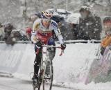 Zdenek Stybar tries to hold off a hard-charging Sven Nys in a blizzard in Kalmthout, Belgium. (From UCI Cyclocross World Cup 2009/2010, ? Balint Hamvas)
