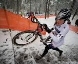 Katie Compton on the slippery stairs in Kalmthout. (From UCI Cyclocross World Cup 2009/2010, ? Balint Hamvas)