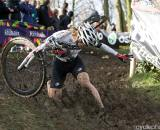 The UK's Gabby Day stumbles in the mud in penultimate race of the World Cup in Roubaix, France. (From UCI Cyclocross World Cup 2009/2010, ? Balint Hamvas)