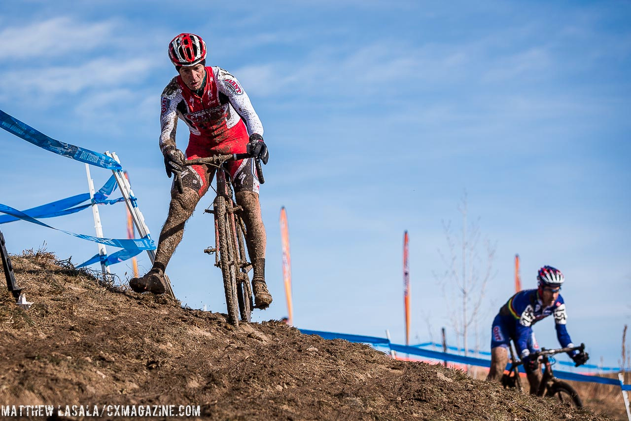 Leaders in the off-camber in Masters 55-59 at the 2014 National Championships. © Matt Lasala