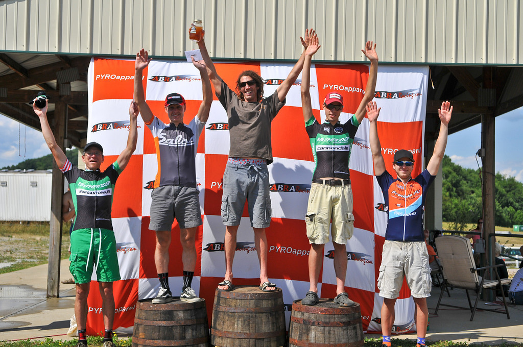 The overall men\'s podium at the 2012 Hilly Billy Roubaix. © Fred Jordan