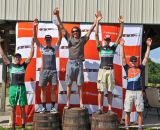 The overall men's podium at the 2012 Hilly Billy Roubaix. © Fred Jordan