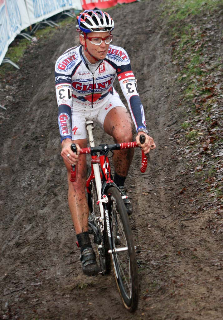 Miller corners carefully in the muddy conditions. ? Bart Hazen