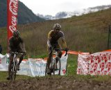 Bart Wellens leads Niels Albert down the descent in the early laps © Cyclocross Magazine