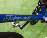 Branding without stickers - IF's Titanium Factory Lightweight Cyclocross Bike's titanium painted downtube. ©Cyclocross Magazine